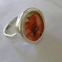 Broken China Ring Chaney Ring  Sterling Silver Ring  Orange Black Flower Ring  Any Size 100% Handcrafted