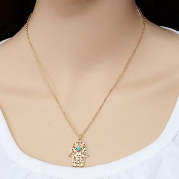 N929 Luck Hamsa Hand Pendants Necklace Fatima Hand Palm Statement Necklaces For Women Clavicle Collares Bijoux