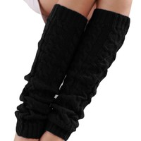 Winter Leg Warmers for Women Fashion Gaiters Boot Cuffs Woman Thigh High Warm Knitted Knee Socks Black Christmas Gifts polainas