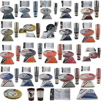 Licensed Official NFL Pick Your Team Picnic Tailgate Party Supplies Plates Cups Forks Napkins