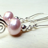 Pink Pearl Dangle Earrings:  Sterling Silver Hammered Swirl, Summer Wedding Jewelry, Bridesmaid Gift Under 25