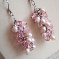 Pink Beaded Earrings Sterling Silver Shaggy Cha Cha Vintage
