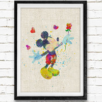Mickey Mouse Watercolor Art Print, Disney Baby Boy / Girl Nursery Room Poster, Kids Decor Home Decor, Not Framed, Buy 2 Get 1 Free!