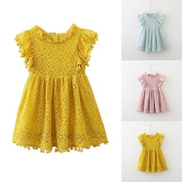 1-6Years Kids Baby Girls Lace Princess Dress Prom Party Floral Dress Tutu Skirts
