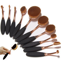 Pro 10 pcs Soft Oval Toothbrush Makeup Brush Sets Foundation Cream Contour Powder Blush Concealer Brush Cosmetics Tool With box