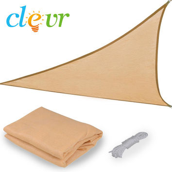 New Premium Clevr Sun Shade Canopy Sail 16.5' Triangle UV Top Outdoor Patio Sand