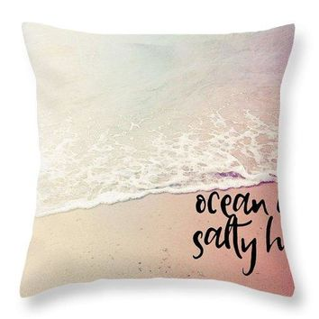 Ocean Air, Salty Hair, Watercolor Art By Adam Asar - Asar Studios 1 - Throw Pillow