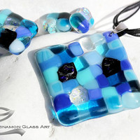 Blue glass mosaic jewelry set