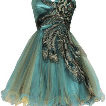 Metallic Peacock Embroidered Holiday Party Homecoming Prom Dress, XS, Turquoise