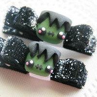 Halloween Hair Clips Frankenstein Hair Clips Hair Bows Baby Bows for Babies Girls Teens and Adults Kawaii Fashion