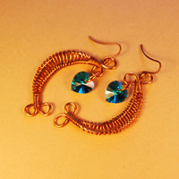 Cooper Wire Wrap Swarovski Green Blue Crystals Heart - Earrings - Jewelry