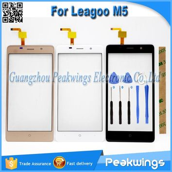"""5.0""""inch Black&White&Gold Touch Sensor For Leagoo M5 Touch Screen With Digitizer Panel+Tools+3M Sticker+Track"""