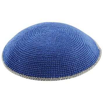 Knitted Flat Dmc Kippahs 15 Cm Solid Colors with Trim
