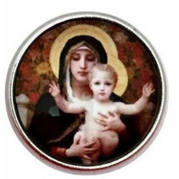 Mary and Baby Jesus Snap Charm for Snap Charm Jewelry (3003)