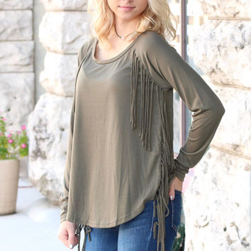 Basic Long Sleeve with Side Fringe {Olive}