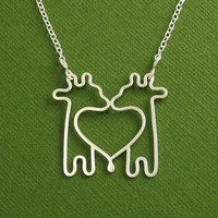 Twin Giraffe Necklace, Sterling Silver, Cable Chain, Made To Order