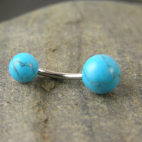 Turquoise Stone Belly Button Ring - 14g Bar Navel Rings, Body Piercing Jewelry, Rings