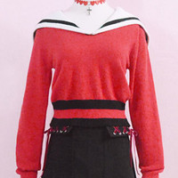 Red short sailor sweater