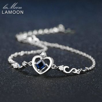 LAMOON Crow Princess Cut 0.2ct 100% Real Blue Sapphire 925 Sterling Silver Jewelry  S925 Charm Bracelet LMHI029