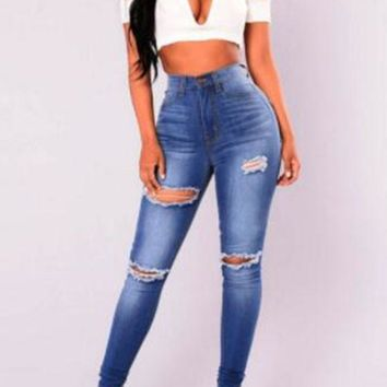 New Blue Zipper Ripped Destroyed Ripped Distressed Denim High Waist Long Jeans