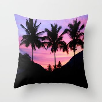 Sunset Palm Trees Throw Pillow by WhimsyRomance&Fun