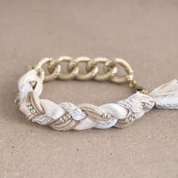 Beige bracelet with chunky chain, braid bracelet, chain bracelet, beige boho bracelet, beige and gold