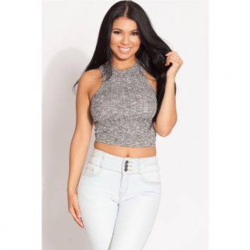 Grey Ribbed Knit Crop Top @ Cicihot Top Shirt Clothing Online Store: Dress Shirt,Sexy Womens Shirt,T Shirts,Corset Dress,White T Shirt,Girl T Shirt,Short sleeve top