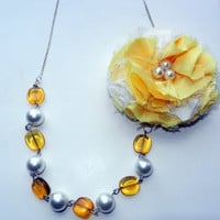 ON SALE Yellow Flower with Gold and Beaded Pearl Necklace