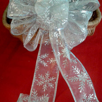 Silver Bow, Garland Bow, Christmas Bow Topper, Silver Wreath Bow, Silver Christmas Bow, Tree Topper Bow, Garland Bow
