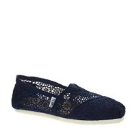 TOMS Classic Navy Crochet Flat Shoes at asos.com