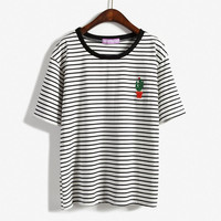 Cactus Embroidered Striped T-shirt