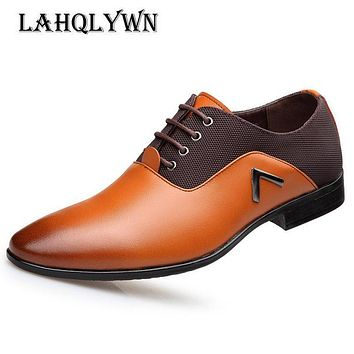 Spring Autumn Men Formal Wedding Shoes Mixed colors Men Business Dress Shoes Men Oxfords Pointy Shoes Big Size 38-47 H60