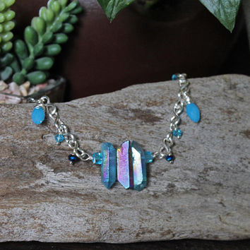 Rainbow Crystal Anklet, Blue Aura Quartz Jewelry, Hippie Festival Fashion, Boho Chic Bridesmaid Gift for Her, Summer Style, Fashionista