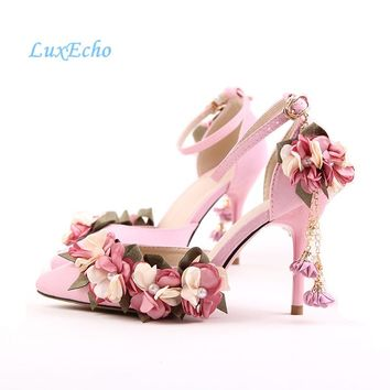 New Arrival White/Pink Flower Tassel Fashion Shoes Ankle Strap Woman's Party/Wedding shoes 9cm Heel pointed toe blet shoes