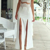 White Spaghetti Strap Double Slit Lace Dress