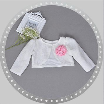 Baby Girls Formal Coat High Quality Lace Flower Clothes Infant Long Sleeves Cardigan Outer Wear Infant Party Wedding Clothing