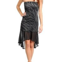 Strapless High-Low Zebra Print Ruffle Party Dress