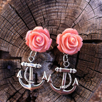 Dark Pink Resin Rose Cabochon and Anchor Earrings