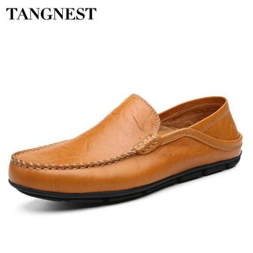 Tangnest Spring Summer Men Casual Shoes Genuine Leather Comfortable Loafers Breathable Moccasins Male Driving Shoes XMR2813