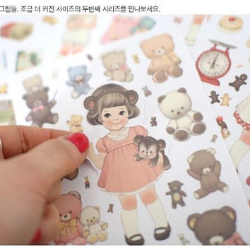 6 Sheets Cute doll pvc transparent diary phone books album decorative stickers T66