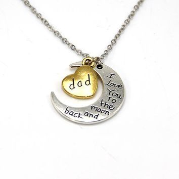 hand stamped i love you to the moon and back charm necklace silver gold dad gift box  number 1