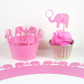 Pink Elephant Cupcake Wrapper Birthday Baby Shower