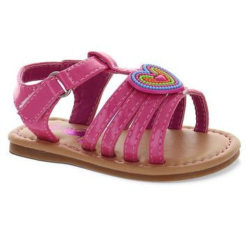 Rugged Bear Toddler Girls' Heart Sandals