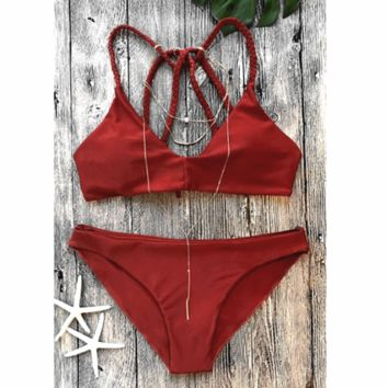 Summer swimsuit pure red Braid straps back cross two piece bikini