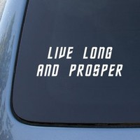 Live Long Prosper - Star Trek Spock Vulcan - Car, Truck, Notebook, Vinyl Decal Sticker #2239 | Vinyl Color: White