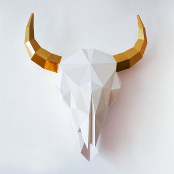 Bison Skull Sculpture, DIY Interior Paper Accessory, Instant Pdf download, DIY Printable Paper Artpiece, Home decoration paperart