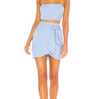 MILAH WRAP SKIRT SET IN LIGHT BLUE