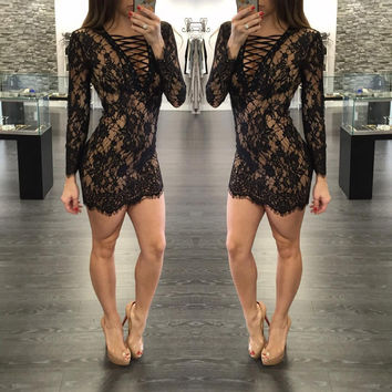 Fashion Sexy Bandage Lace Short Bodycon Dress