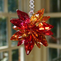 Swarovski Crystal College Colors - Virginia Tech, Red and Orange, Crystal Car Charm, Suncatcher, Hokies