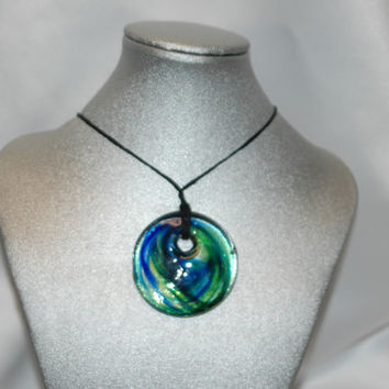 Handmade art glass blue and green pendant necklace, artglass pendant, great jewelry gift for birthday, or christmas